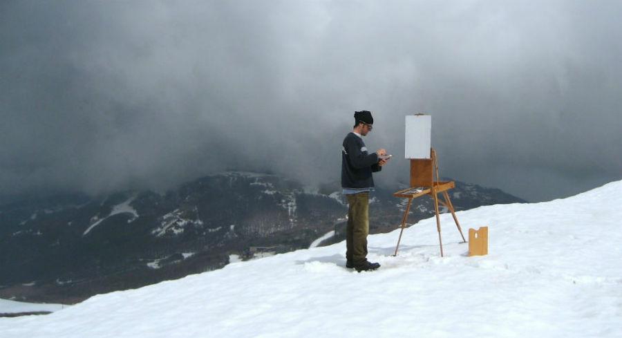 Peinture dans la neige en Italie